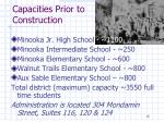 capacities prior to construction