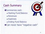cash summary