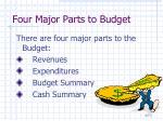 four major parts to budget