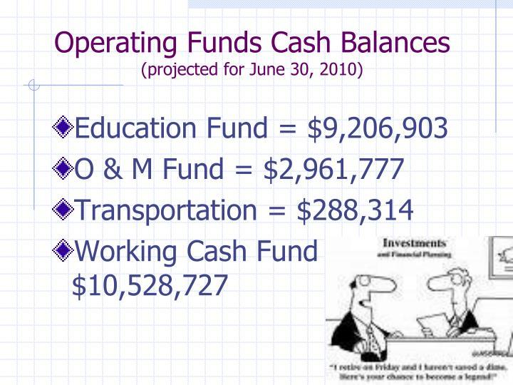 Operating Funds Cash Balances