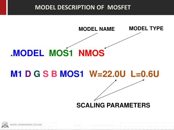 MODEL DESCRIPTION OF  MOSFET