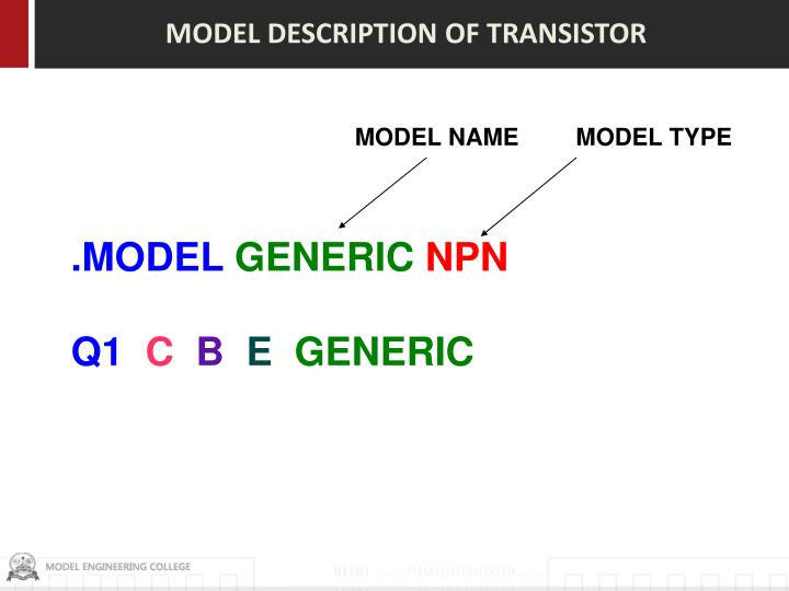 MODEL DESCRIPTION OF TRANSISTOR