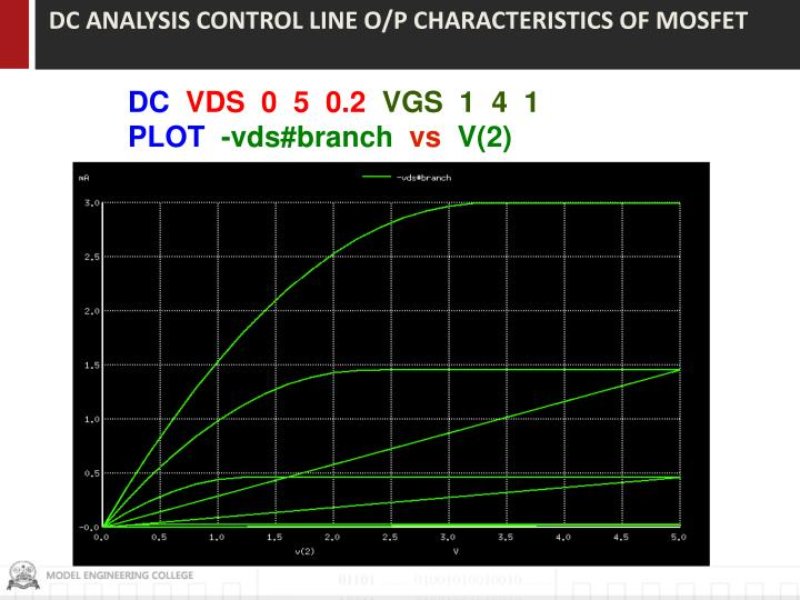DC ANALYSIS CONTROL LINE O/P CHARACTERISTICS OF MOSFET