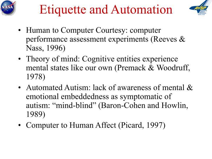 Etiquette and Automation