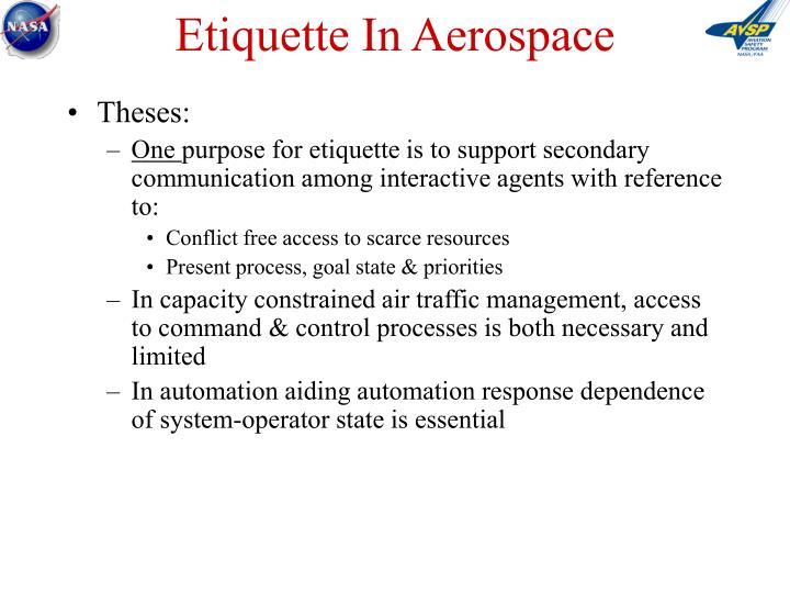 Etiquette In Aerospace