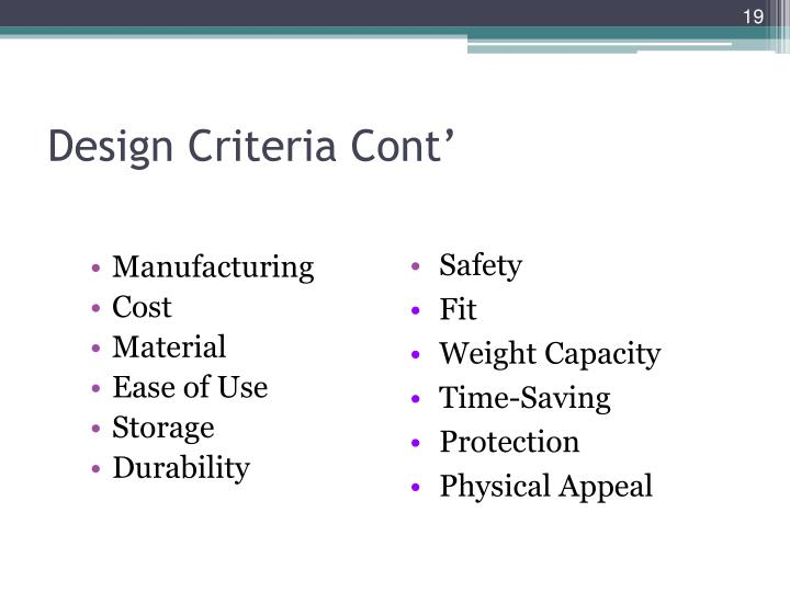 Design Criteria Cont'