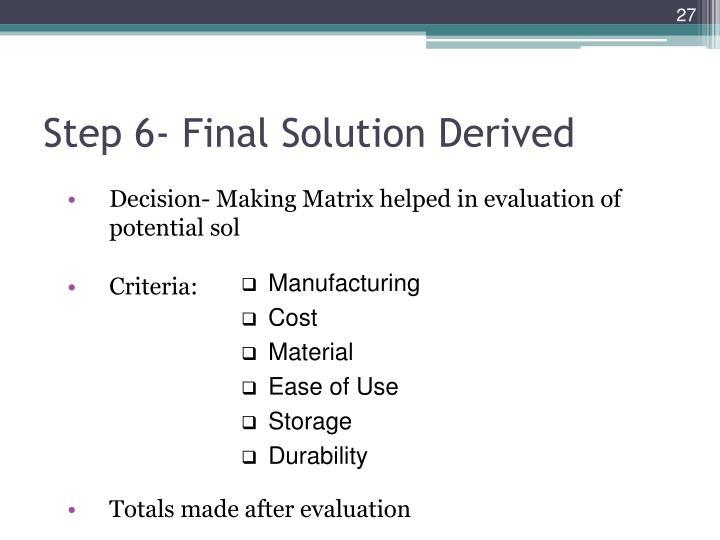 Step 6- Final Solution Derived