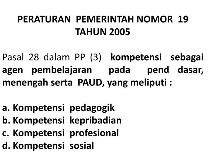 PERATURAN  PEMERINTAH NOMOR  19