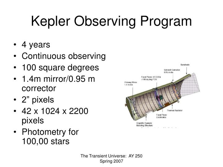 Kepler Observing Program