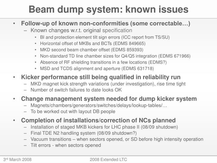 Beam dump system: known issues