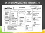 unit organizers pre assessments