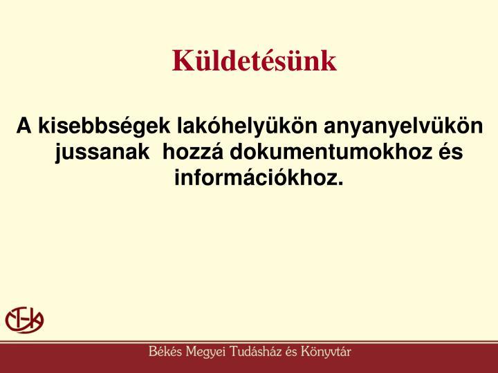 A kisebbségek lakóhelyükön anyanyelvükön jussanak  hozzá dokumentumokhoz és információkhoz.