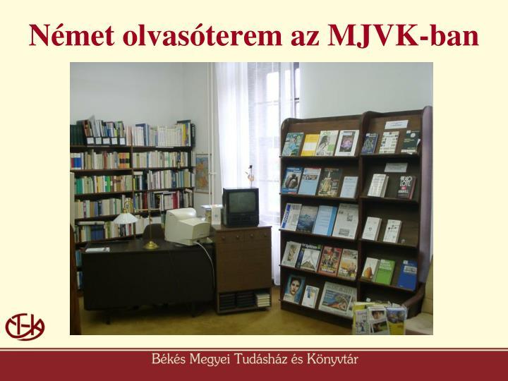 Német olvasóterem az MJVK-ban