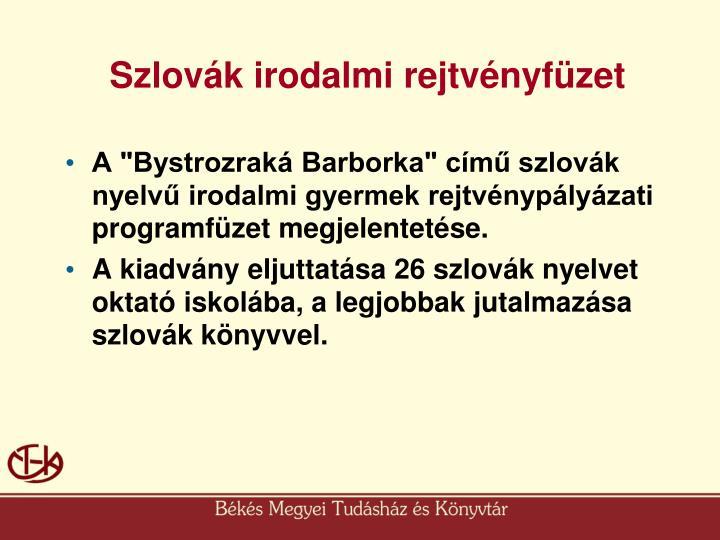 Szlovák irodalmi rejtvényfüzet