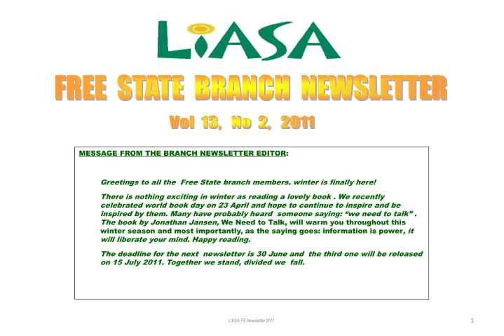 FREE  STATE  BRANCH  NEWSLETTER