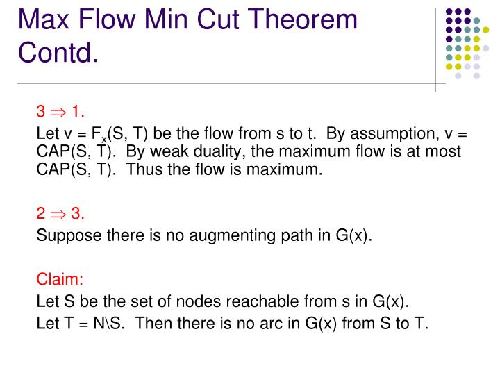 Max Flow Min Cut Theorem Contd.