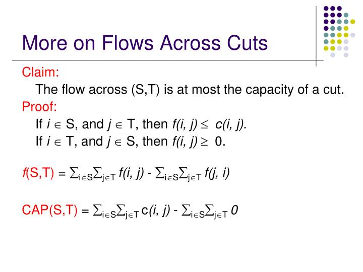 More on Flows Across Cuts
