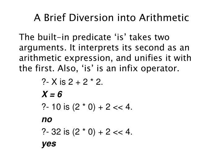 A Brief Diversion into Arithmetic