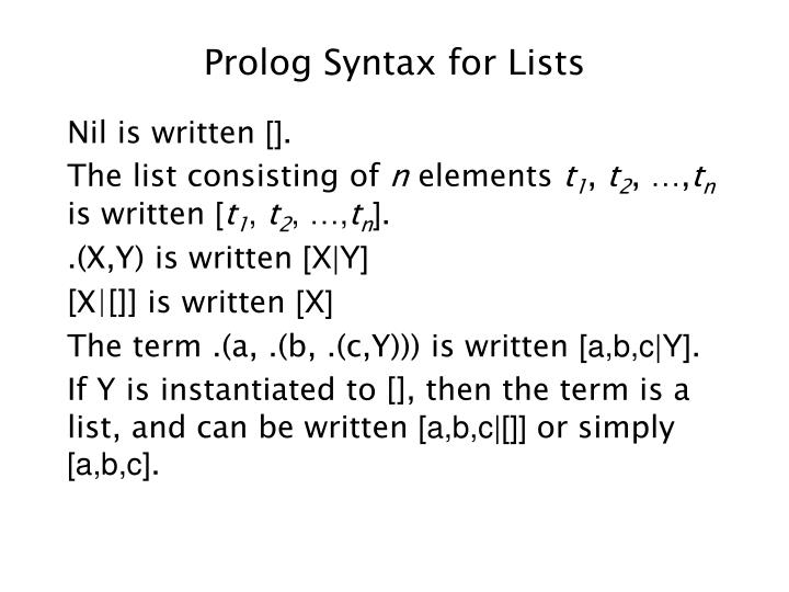 Prolog Syntax for Lists