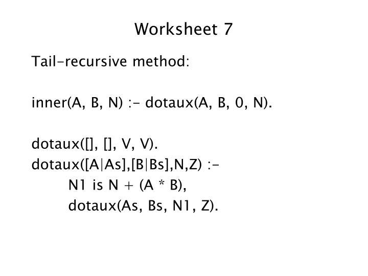 Worksheet 7