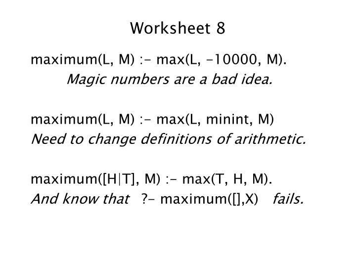Worksheet 8