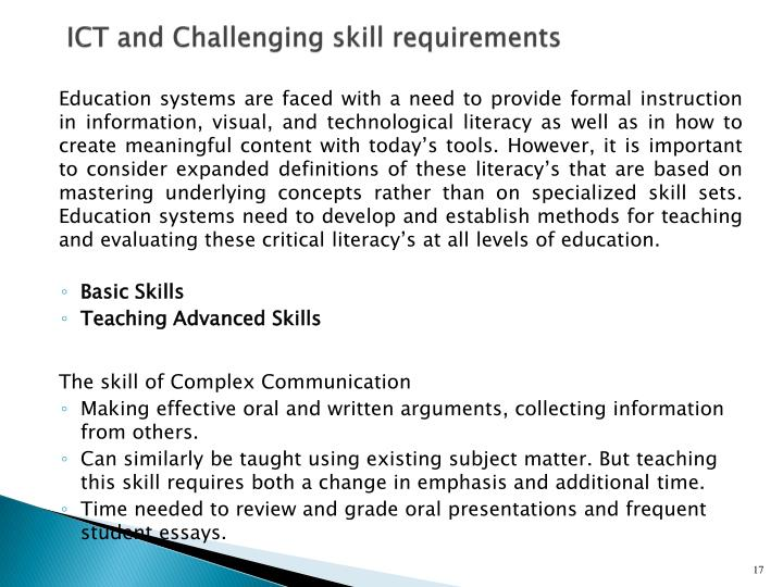 ICT and Challenging skill requirements