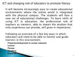 ict and changing role of educators to promote literacy
