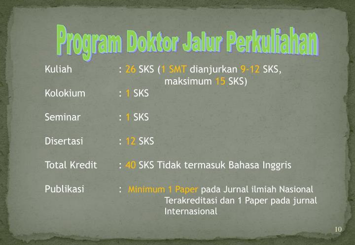 Program Doktor Jalur Perkuliahan