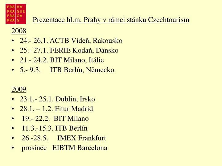 Prezentace hl.m. Prahy vrámci stánku Czechtourism
