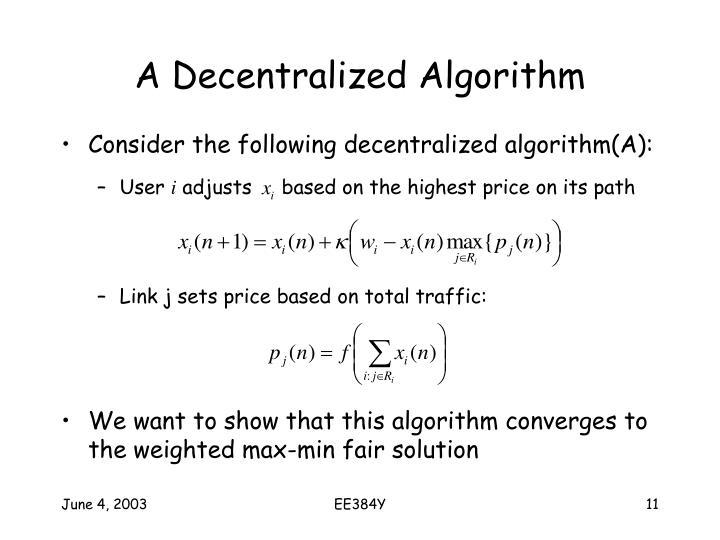 A Decentralized Algorithm