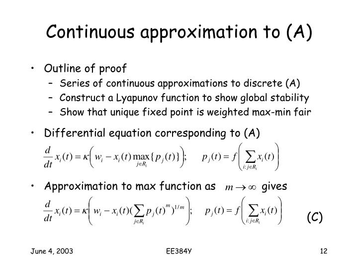 Continuous approximation to (A)