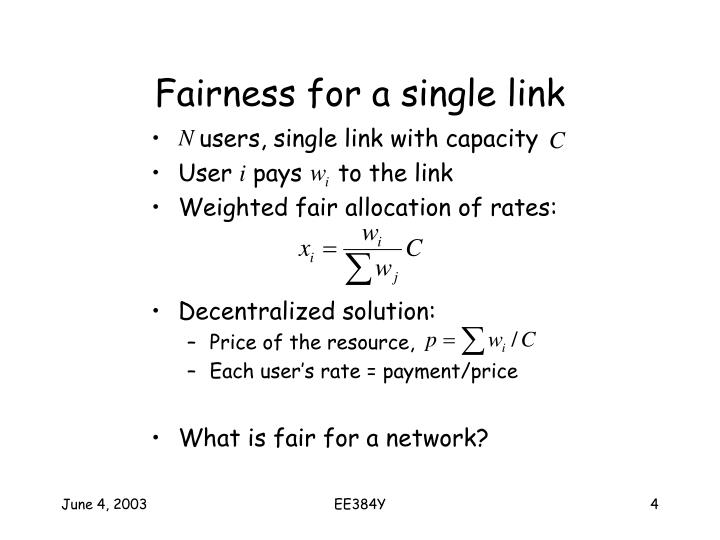 Fairness for a single link
