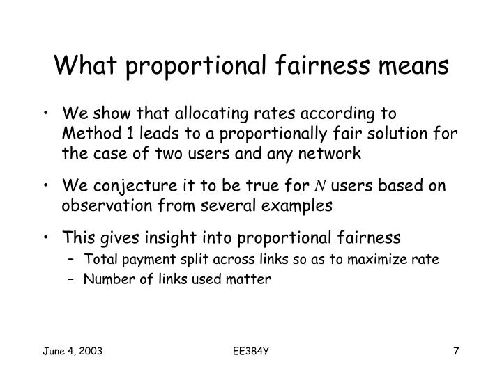 What proportional fairness means