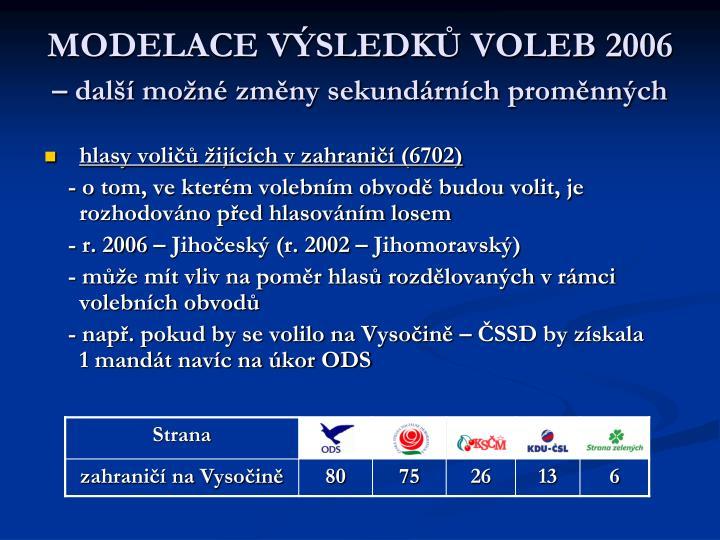 MODELACE VÝSLEDKŮ VOLEB 2006