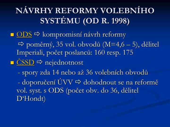 NÁVRHY REFORMY VOLEBNÍHO SYSTÉMU (OD R. 1998)