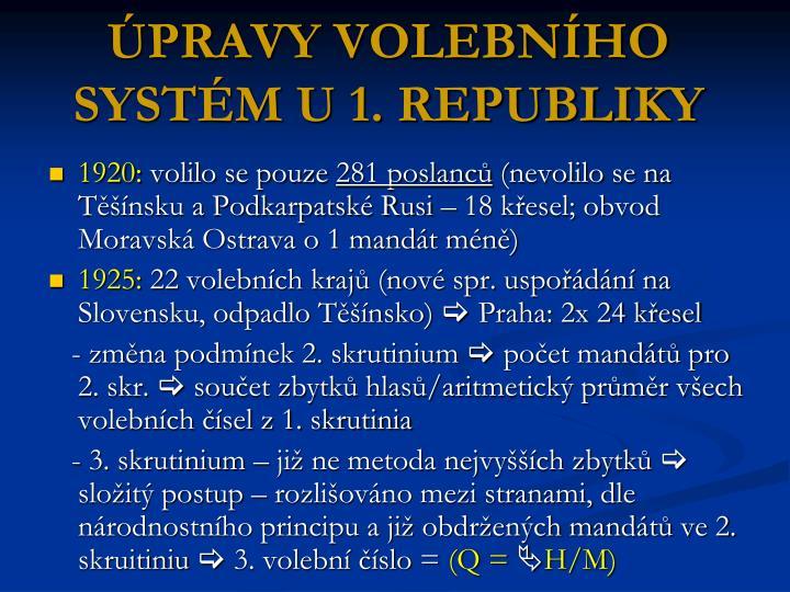 ÚPRAVY VOLEBNÍHO SYSTÉM U 1. REPUBLIKY