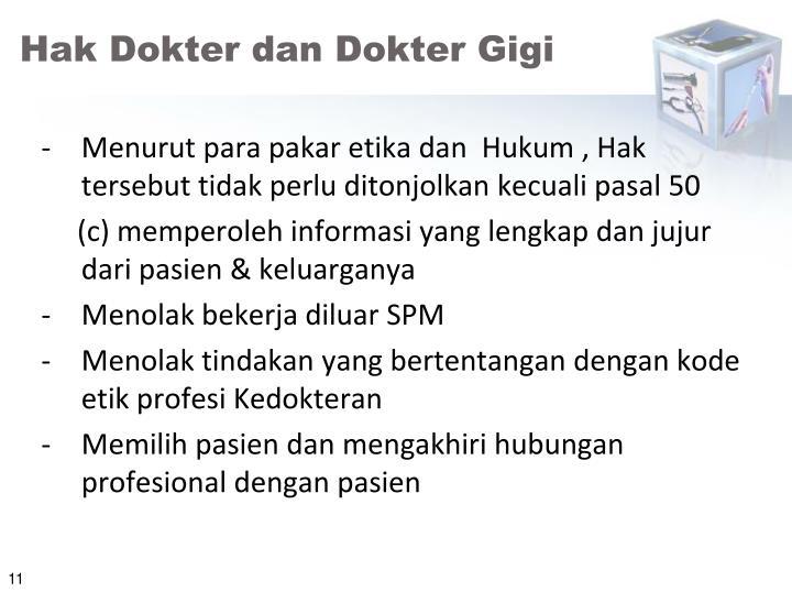 Hak Dokter dan Dokter Gigi