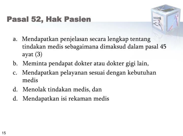Pasal 52, Hak Pasien