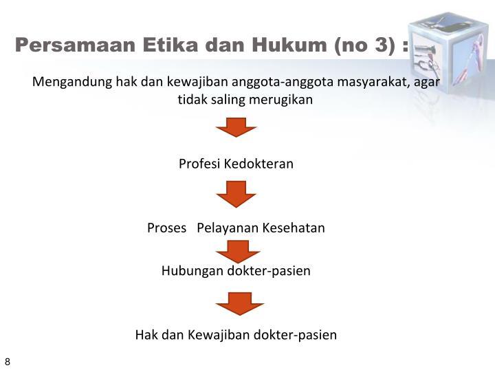 Persamaan Etika dan Hukum (no 3) :
