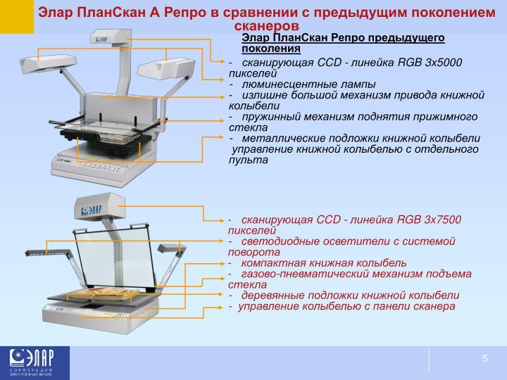 Элар ПланСкан А Репро в сравнении с предыдущим поколением сканеров