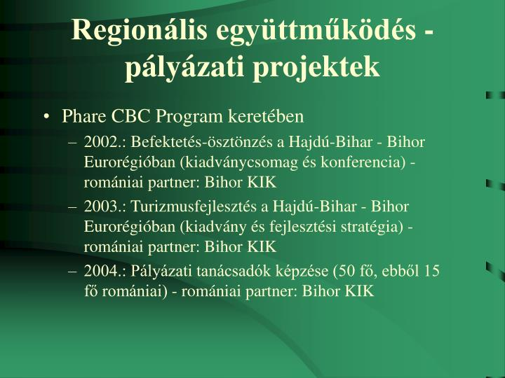 Regionális együttműködés - pályázati projektek