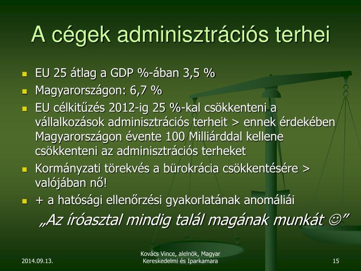 A cégek adminisztrációs terhei