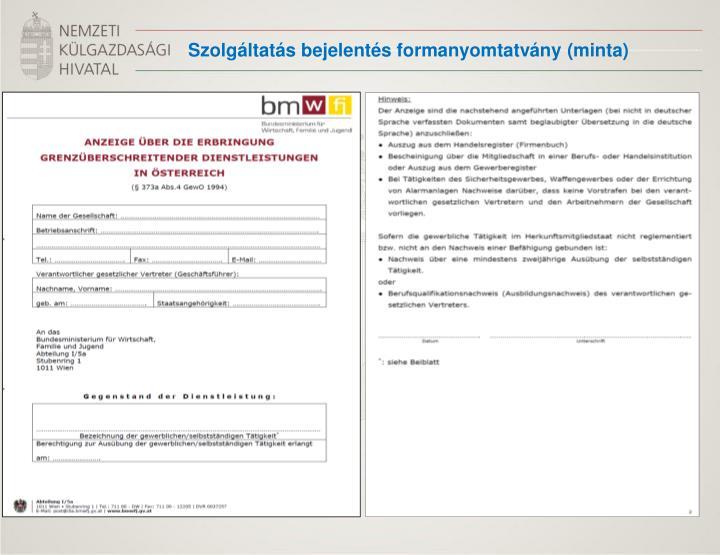 Szolgáltatás bejelentés formanyomtatvány (minta)