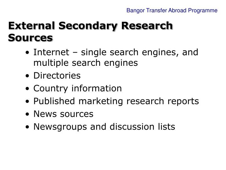 External Secondary Research Sources