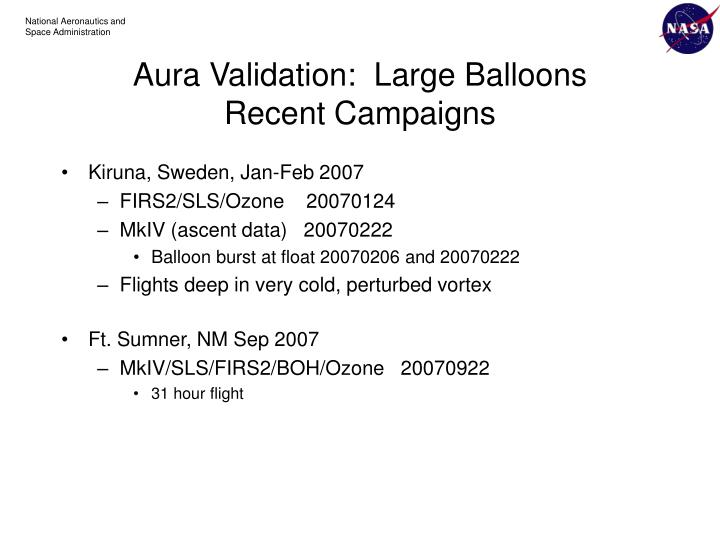 Aura validation large balloons recent campaigns