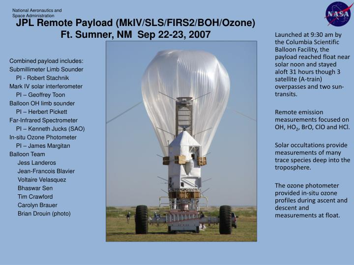JPL Remote Payload (MkIV/SLS/FIRS2/BOH/Ozone)