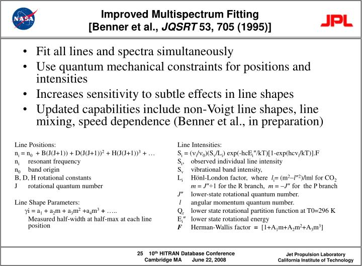 Fit all lines and spectra simultaneously