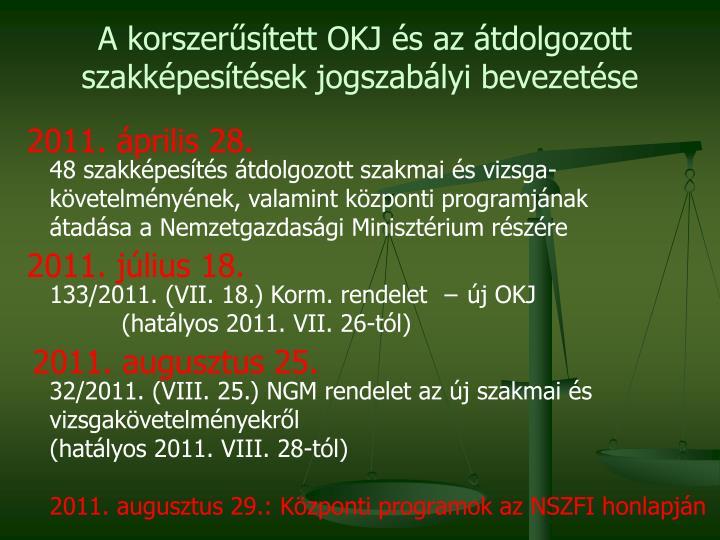A korszerűsített OKJ és az átdolgozott szakképesítések jogszabályi bevezetése