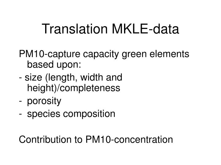 Translation mkle data