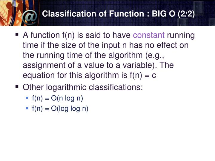 Classification of Function : BIG O (2/2)
